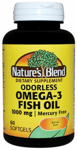 Nature's Blend Odorless Omega-3 Fish Oil Softgels 1000mg Perspective: front