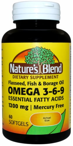 Nature's Blend Omega Oil 3-6-9 Essential Fatty Acids Softgels 1200mg Perspective: front