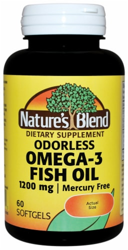 Nature's Blend Odorless Omega-3 Fish Oil Softgels 1200mg Perspective: front