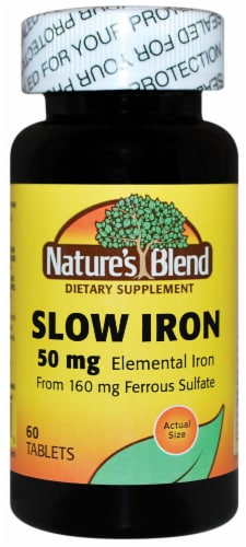 Nature's Blend Slow Iron Tablets 50mg Perspective: front
