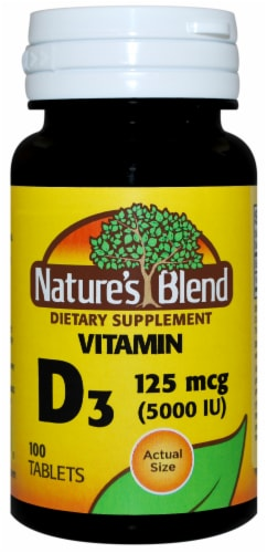 Nature's Blend Vitamin D3 Tablets 125mcg 100 Count Perspective: front