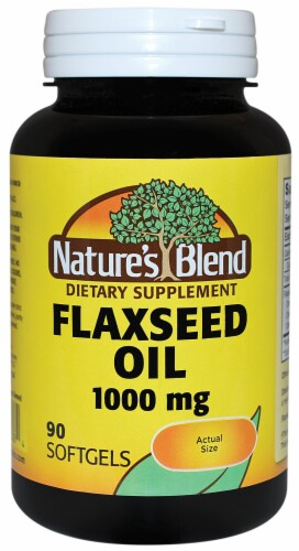 Nature's Blend Flaxseed Oil Softgels 1000mg Perspective: front