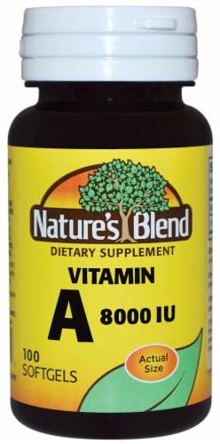 Nature's Blend Vitamin A Softgels 8000IU 100 Count Perspective: front