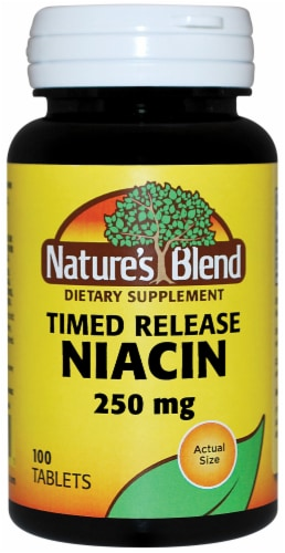 Nature's Blend Timed Release Niacin Tablets 250mg Perspective: front