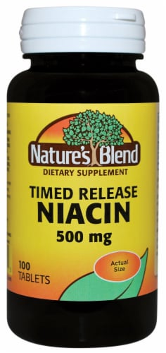 Natures Blend Time Release Niacin 500mg Tablets 100 Count Perspective: front