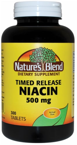 Nature's Blend Time Release Niacin Tablets 500mg Perspective: front