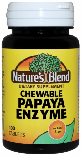 Nature's Blend Chewable Papaya Enzyme Tablets 100 Count Perspective: front