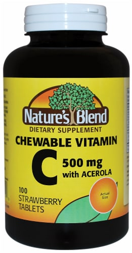 Nature's Blend Chewable Vitamin C Strawberry Tablets 500mg 100 Count Perspective: front