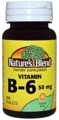 Nature's Blend Vitamin B-6 Tablets 50mg 100 Count Perspective: front