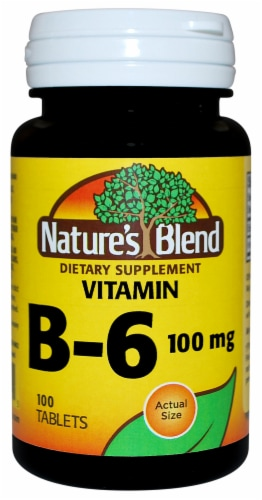 Nature's Blend Vitamin B6 Dietary Supplement Tablets 100mg 100 Count Perspective: front