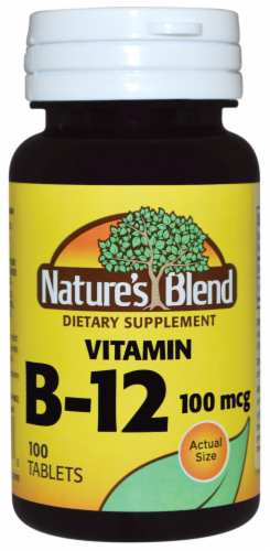Nature's Blend Vitamin B-12 Tablets 100 mcg 100 Count Perspective: front