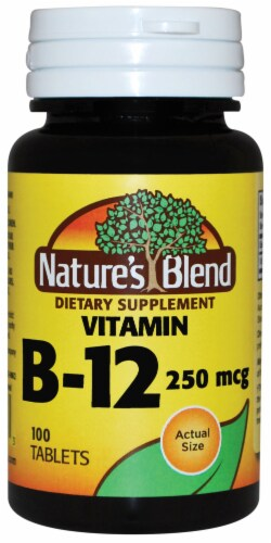 Nature's Blend Vitamin B-12 Tablets 250mcg 100 Count Perspective: front