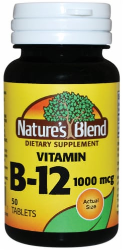 Nature's Blend Vitamin B12 Tablets 1000mcg 50 Count Perspective: front