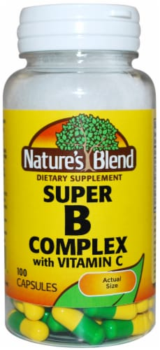 Natures Blend Super B Complex With Vitamin C Capsules 100 Count Perspective: front