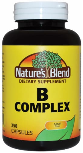 Nature's Blend B Complex Dietary Supplement Capsules 250 Count Perspective: front