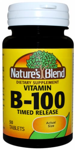 Nature's Blend Complex B-100 Time Release Tablets 50 Count Perspective: front