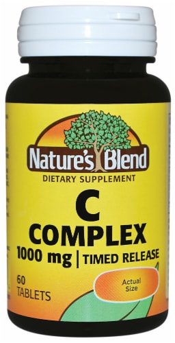 Nature's Blend C Complex Timed Release Tablets 1000mg 60 Count Perspective: front