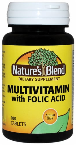 Nature's Blend Multivitamin with Foilic Acid Tablets Perspective: front