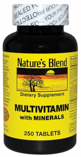 Nature's Blend Multivitamin with Minerals Tablets 250 Count Perspective: front