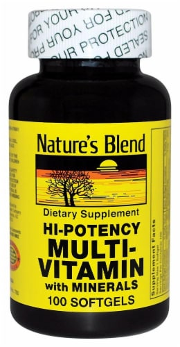 Nature's Blend Hi-Potency Multivitamin & Mineral Softgels 100 Count Perspective: front