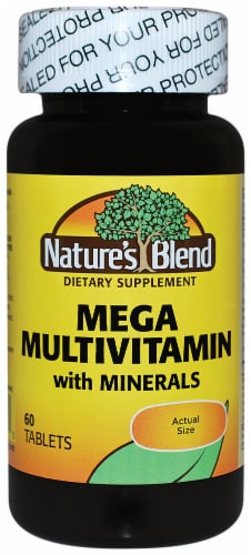 Nature's Blend Mega Multi Vitamin with Minerals Tablets Perspective: front