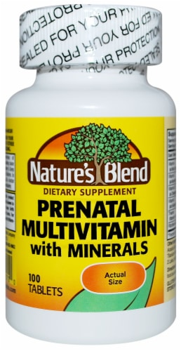 Nature's Blend Prenatal Multivitamin with Minerals Tablets Perspective: front