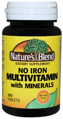 Natures Blend No Iron Multivitamin with Minerals Tablets 100 Count Perspective: front