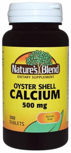 Natures Blend Calcium Oyster Shell Tablets 500mg Perspective: front