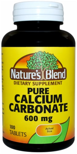 Nature's Blend Pure Calcium Carbonate Tablets 600mg Perspective: front