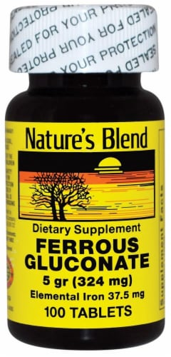 Nature's Blend Ferrous Gluconate Tablets 324mg Perspective: front