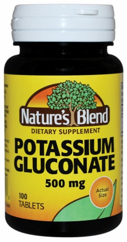 Nature's Blend Potassium Gluconate Tablets 500mg 100 Count Perspective: front