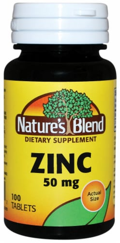 Nature's Blend Zinc Tablets 50mg 100 Count Perspective: front