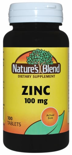 Nature's Blend Zinc Tablets 100mg 100 Count Perspective: front