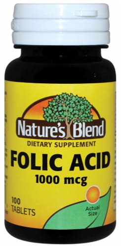 Nature's Blend Folic Acid Tablets 1000mcg 100 Count Perspective: front