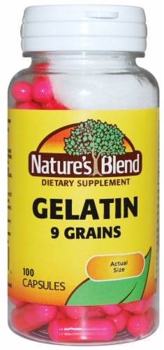 Natures Blend Gelatin 9 Grain Capsules 100 Count Perspective: front