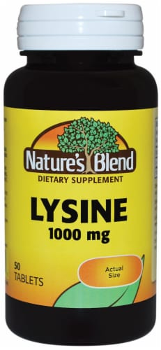 Nature's Blend Lysine Tablets 1000mg 50 Count Perspective: front