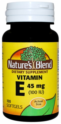 Natures Blend Vitamin E 45mg Softgels 100 Count Perspective: front