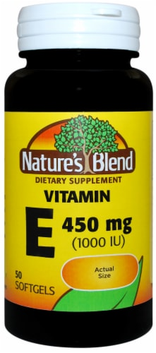 Nature's Blend Vitamin E Softgels 450mg 50 Count Perspective: front