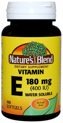 Natures Blend Vitamin E Water Soluble Softgels 180mg 100 Count Perspective: front