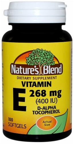 Nature's Blend Vitamin E D-Alpha Tocopherol Softgel 268mg 100 Count Perspective: front