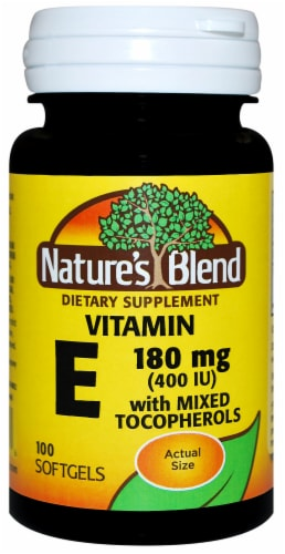 Nature's Blend Vitamin E Tocopherols Softgels 180mg 100 Count Perspective: front