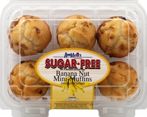 Ann Marie's Sugar Free Banana Nut Mini Muffins 6 Count Perspective: front