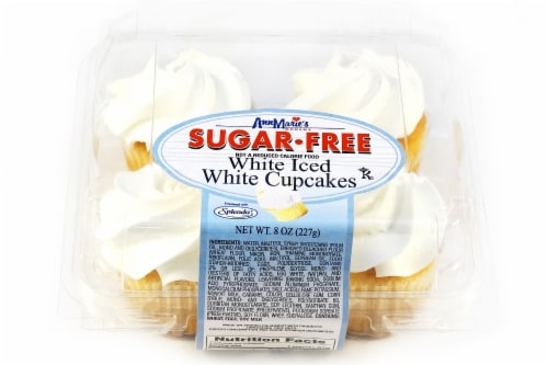 Ann Marie's Sugar Free White Iced White Cupcakes Perspective: front
