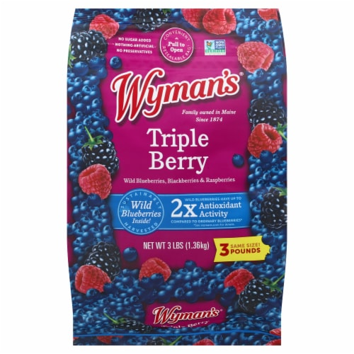 Wyman's Triple Berry Mix Frozen Fruit Perspective: front