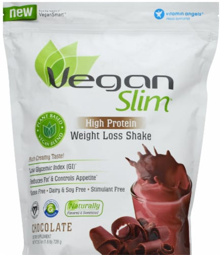 Vegan Slim Chocolate High Protein Weight Loss Shake Mix Perspective: front
