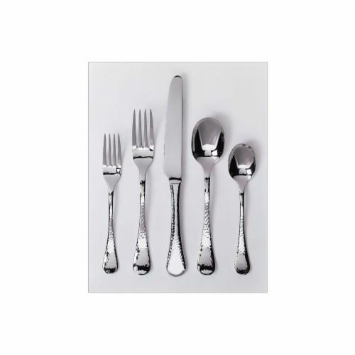 Ginkgo 079914-36005-0 Lafayette 5 Piece Place Setting - 18-10 Stainless - Lafayette Hammered Perspective: front