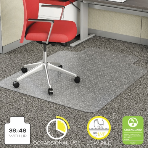 Economat Occasional Use Chair Mat Low Pile Carpet Roll 36 X 48 Lipped Clear | Total Quantity: Perspective: front