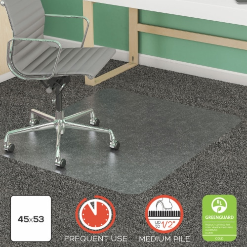 Supermat Frequent Use Chair Mat Med Pile Carpet Flat 45 X 53 Rectangular Clear | Total Perspective: front
