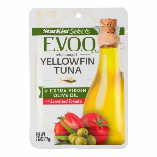 StarKist Selects E.V.O.O. Yellowfin Tuna in Extra Virgin Olive Oil with Sun-Dried Tomato Perspective: front