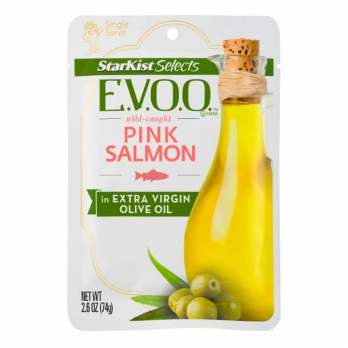 StarKist Selects E.V.O.O. Wild-Caught Pink Salmon in Extra Virgin Olive Oil Perspective: front